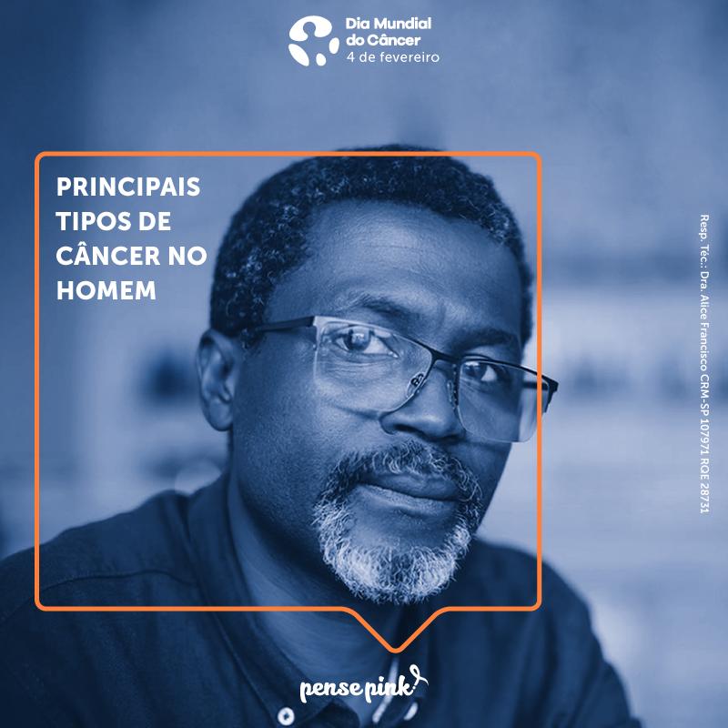 Principais tipos de câncer no homem